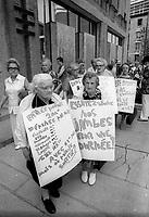 Manifestation de personnes agees contre la decision de la CTCUM de refuser d'offrir un tarif reduit de 10 cent, le 10 juin 1974<br /> <br /> PHOTO D'ARCHIVE : Agence Quebec Presse - Alain Renaud