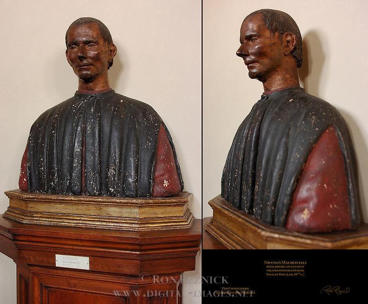 Polychrome Bust of Niccolo Machiavelli Santi di Tito Old Chancellerie Palazzo Vecchio Florence