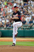 Starting pitcher Mike Foltynewicz (48) of the Atlanta Braves delivers a pitch in a Spring Training game against the New York Yankees on Wednesday, March 18, 2015, at Champion Stadium at the ESPN Wide World of Sports Complex in Lake Buena Vista, Florida. The Yankees won, 12-5. (Tom Priddy/Four Seam Images)