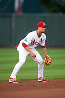 Springfield Cardinals shortstop Aledmys Diaz (16) during a game against the Frisco RoughRiders  on June 3, 2015 at Hammons Field in Springfield, Missouri.  Springfield defeated Frisco 7-2.  (Mike Janes/Four Seam Images)