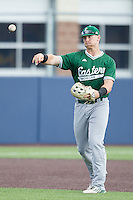 Eastern Michigan Hurons third baseman Mitchell McGeein (23) makes a throw to first base against the Michigan Wolverines on May 3, 2016 at Ray Fisher Stadium in Ann Arbor, Michigan. Michigan defeated Eastern Michigan 12-4. (Andrew Woolley/Four Seam Images)
