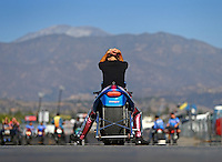 Nov 16, 2014; Pomona, CA, USA; NHRA pro stock motorcycle rider Angie Smith reacts after losing during the Auto Club Finals at Auto Club Raceway at Pomona. Mandatory Credit: Mark J. Rebilas-USA TODAY Sports