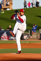 Wisconsin Timber Rattlers pitcher Marcos Diplan (18) delivers a pitch during a Midwest League game against the Lansing Lugnuts on April 29th, 2016 at Fox Cities Stadium in Appleton, Wisconsin.  Wisconsin defeated Lansing 2-0. (Brad Krause/Four Seam Images)