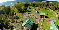 Birdseye view to North from top of Säppi Island Lighthouse showing dwellings, surrounding forests and clearings -Gulf of Bothnia southwest from Mäntyluoto.