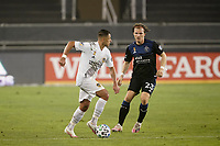 SAN JOSE, CA - SEPTEMBER 13: Javier Hernandez #14 of the Los Angeles Galaxy is marked by Florian Jungwirth #23 of the San Jose Earthquakes during a game between Los Angeles Galaxy and San Jose Earthquakes at Earthquakes Stadium on September 13, 2020 in San Jose, California.