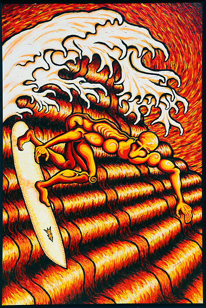 Surfer in Red and Yellow, By J. Scott Lytle. Acrylic on board. 72''X48''. 2020. Vista, CA.