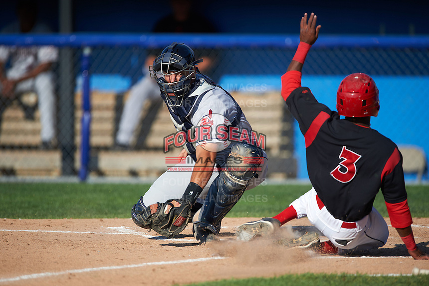 Mahoning Valley Scrappers catcher Daniel Salters (12) swipes the tag as Anfernee Seymour (3) scores a run as during the first game of a doubleheader against the Batavia Muckdogs on July 2, 2015 at Dwyer Stadium in Batavia, New York.  Batavia defeated Mahoning Valley 4-1.  (Mike Janes/Four Seam Images)