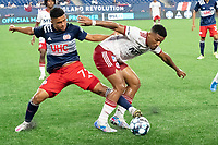 FOXBOROUGH, MA - JUNE 26: Damian Rivera #72 of the New England Revolution reaches for the ball during a game between North Texas SC and New England Revolution II at Gillette Stadium on June 26, 2021 in Foxborough, Massachusetts.