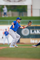 South Bend Cubs shortstop Rafael Narea (2) waits to receive a throw from the catcher during the first game of a doubleheader against the Lake County Captains on May 16, 2018 at Classic Park in Eastlake, Ohio.  South Bend defeated Lake County 6-4 in twelve innings.  (Mike Janes/Four Seam Images)
