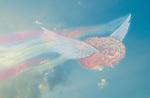 Illustrative image of flying brain representing freedom of thinking