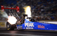 Jun. 29, 2012; Joliet, IL, USA: NHRA top fuel dragster driver T.J. Zizzo during qualifying for the Route 66 Nationals at Route 66 Raceway. Mandatory Credit: Mark J. Rebilas-