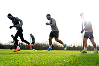 (L-R) Oli McBurnie, Cameron Carter-Vickers and Decland John of Swansea City in action during the Swansea City Training at The Fairwood Training Ground, Swansea, Wales, UK. Tuesday 04 December 2018
