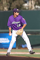 Preston Morrison #18 of the TCU Horned Frogs pitches against the UCLA Bruins at the Los Angeles super regionals at Jackie Robinson Stadium on June 9, 2012 in Los Angeles,California. UCLA defeated TCU 4-1.(Larry Goren/Four Seam Images)