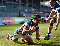 18th April 2021 2021; Recreation Ground, Bath, Somerset, England; English Premiership Rugby, Bath versus Leicester Tigers; Matías Moroni of Leicester Tigers scores a try for his team under pressure from Will Muir of Bath