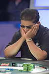 Victor Ramdin contemplates making a call, then celebrates his win over Ed Jordan...Victor Ramdin Doubles Through Ed Jordan...Log: Hand #98 - Victor Ramdin has the button and raises to $400,000. Ed Jordan moves all in and Ramdin makes the call. Jordan showsQd-6d and Ramdin flips over Ac-Qs. Theflop comes 9c-6s-5s and Jordan takes a huge lead. The turn is the 9s and Ramdin picks up a flush draw. The river brings the Ad and Victor Ramdin has doubled up on Ed Jordan.