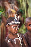 Oceania,Papua New Guinea, highland festival, Kalawari goup of women painted prepare themselves for dance