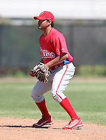 March 30, 2010:  Second Baseman Melvin Dorta of the Philadelphia Phillies organization during Spring Training at the Carpenter Complex in Clearwater, FL.  Photo By Mike Janes/Four Seam Images