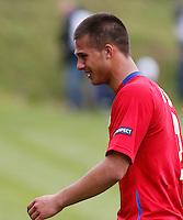 Nemanja Jaksic of Serbia looks dejected during the UEFA U-17 championship Group A match between Serbia and England on May 9, 2011 in Indjija, Serbia (Photo by Srdjan Stevanovic/Starsportphoto.com)