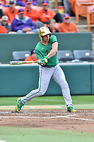 Notre Dame Fighting Irish center fielder Matt Vierling (24) swings at a pitch during a game against the Clemson Tigers at Doug Kingsmore Stadium on March 11, 2017 in Clemson, South Carolina. The Tigers defeated the Fighting Irish 6-5. (Tony Farlow/Four Seam Images)