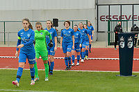 players of Genk pictured entering the pitch during a female soccer game between SV Zulte - Waregem and KRC Genk on the 8 th matchday of the 2020 - 2021 season of Belgian Scooore Women s SuperLeague , saturday 21 th of November 2020  in Zulte , Belgium . PHOTO SPORTPIX.BE | SPP | DIRK VUYLSTEKE