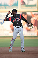 Jordy Barley (3) of the Lake Elsinore Storm in the field during a game against the Inland Empire 66ers at San Manuel Stadium on June 15, 2021 in San Bernardino, California. (Larry Goren/Four Seam Images)