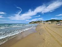 The beach of Agios Stefanos in northern Corfu, Greece. Thursday 03 September 2020