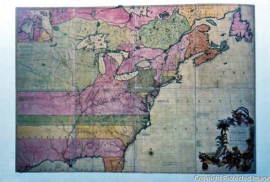 """Maps:  Map, North America, 1755,  by John Mitchell. """"A map of tje British and French Dominions of N. America..."""""""