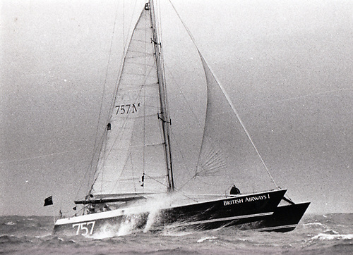 Robin Knox-Johnston's 60ft catamaran British Airways heads north from Dublin Bay at the start of a round Ireland record challenge in May 1986 which managed to take 12 hours off Moonduster's 1984 time