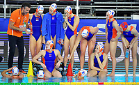 Arno Havenga Team Netherlands Head coach and players during a time out <br /> Netherlands NED - Kazakhstan KAZ <br /> Trieste (Italy) 22/01/2021 Bruno Bianchi Aquatic Center <br /> Fina Women's Water Polo Olympic Games Qualification Tournament 2021 <br /> Photo Andrea Staccioli / Deepbluemedia / Insidefoto