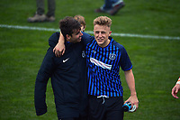Olympic's Jack Henry-Sinclair and Miramar's Jake Williams after the Central League football match between Miramar Rangers and Wellington Olympic AFC at David Farrington Park in Wellington, New Zealand on Saturday, 29 May 2021. Photo: Dave Lintott / lintottphoto.co.nz