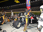 Jeff Burton, driver of the (31) Caterpillar Chevrolet, makes a pit stop during the Samsung Mobile 500 Sprint Cup race at Texas Motor Speedway in Fort Worth,Texas.