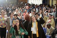 """BOGOTÁ -COLOMBIA. 10-10-2014. Clara Lopez (Der) en la instalación del encuentro por la """"Dignidad de las Víctimas del Genocidio contra La UP"""" realizado hoy, 10 de octuber de 2014, en la ciudad de Bogotá./ Clara Lopez (R) during the meeting for the """"Dignity of Victims of Genocide against The UP"""" took place today, October 10 2014, at Bogota city. Photo: Reiniciar /VizzorImage/ Gabriel Aponte<br /> NO VENTAS / NO PUBLICIDAD / USO EDITORIAL UNICAMENTE / USO OBLIGATORIO DELCREDITO"""