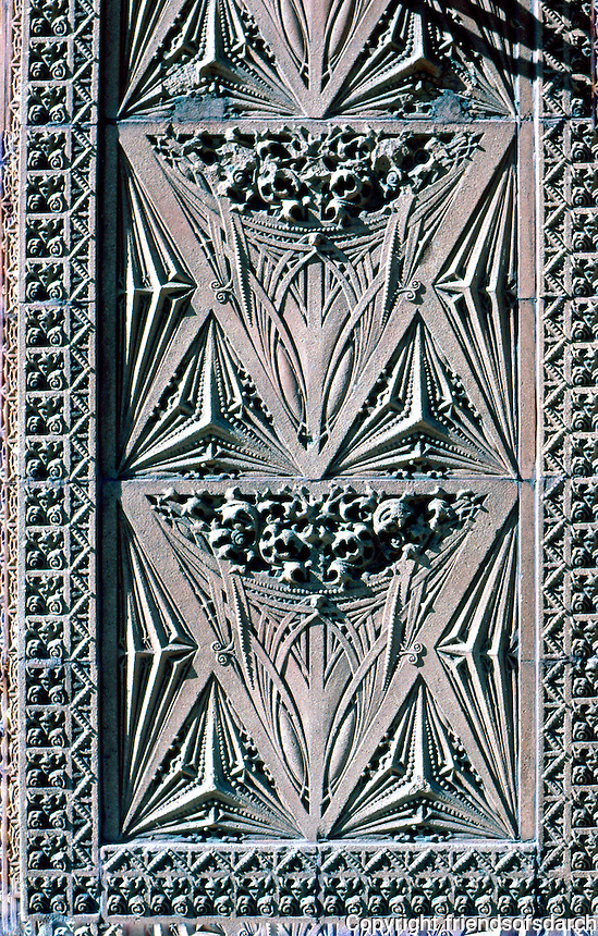 Louis Sullivan: Guaranty Bldg. Detail. Terra cotta panel at side of entrance.  Photo '88.