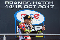 Shane Byrne of Be Wiser Ducati Racing Team wins the final showdown race of the MCE British Superbikes in Association with Pirelli after Leon Haslam of JG Speedfit Kawasaki crashes out in round 12 2017 - BRANDS HATCH (GP) at Brands Hatch, Longfield, England on 15 October 2017. Photo by Alan  Stanford / PRiME Media Images.