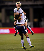 Sydney Leroux (2) of the USWNT celebrates her goal with teammate Megan Rapinoe (15) during an international friendly at Crew Stadium in Columbus, OH. The USWNT tiedNew Zealand, 1-1.