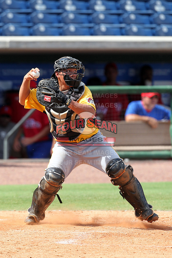 Pittsburgh Pirates catcher Jin-De Jhang #27 during an Instructional League game against the Philadelphia Phillies at Bright House Field on October 13, 2011 in Clearwater, Florida.  (Mike Janes/Four Seam Images)