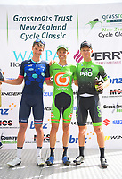 Podium from Stage Four - Te Piki - The Climb. 2019 Grassroots Trust NZ Cycle Classic UCI 2.2 Tour from Cambridge, New Zealand on Saturday, 26 January 2019. Photo: Dave Lintott / lintottphoto.co.nz