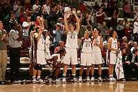 23 February 2006: Krista Rappahahn, Brooke Smith, Candice Wiggins, Kristen Newlin, Rosalyn Gold-Onwude, Jillian Harmon, and Cissy Pierce during Stanford's 100-69 win over the Washington Huskies at Maples Pavilion in Stanford, CA.