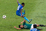 Christian Kwesi of SC Kitchee (L) trips up with Chi Ho lee of Long Lions (R) during the Community Cup match between Kitchee and Eastern Long Lions at Mong Kok Stadium on September 23, 2017 in Hong Kong, China. Photo by Marcio Rodrigo Machado / Power Sport Images