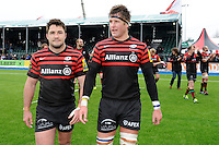 20130324 Copyright onEdition 2013©.Free for editorial use image, please credit: onEdition..Brad Barritt (left) and Ernst Joubert of Saracens during the Premiership Rugby match between Saracens and Harlequins at Allianz Park on Sunday 24th March 2013 (Photo by Rob Munro)..For press contacts contact: Sam Feasey at brandRapport on M: +44 (0)7717 757114 E: SFeasey@brand-rapport.com..If you require a higher resolution image or you have any other onEdition photographic enquiries, please contact onEdition on 0845 900 2 900 or email info@onEdition.com.This image is copyright onEdition 2013©..This image has been supplied by onEdition and must be credited onEdition. The author is asserting his full Moral rights in relation to the publication of this image. Rights for onward transmission of any image or file is not granted or implied. Changing or deleting Copyright information is illegal as specified in the Copyright, Design and Patents Act 1988. If you are in any way unsure of your right to publish this image please contact onEdition on 0845 900 2 900 or email info@onEdition.com