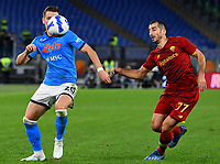 Calcio, Serie A: AS Roma vs SSC Napoli, Olympic stadium, October 24, 2021.<br /> Napoli's Piotr Zielinski (L) in action with Roma's captain Lorenzo Pellegrini (R) during the Italian Serie A football match between Roma and Napoli at Rome's Olympic stadium, on , October 24, 2021. <br /> UPDATE IMAGES PRESS/Isabella Bonotto