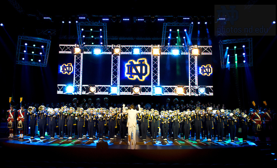August 31, 2012; The Notre Dame Marching Band rehearses at The O2 in Dublin, Ireland. Photo by Barbara Johnston/University of Notre Dame