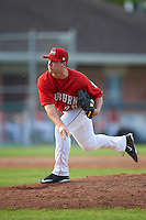 Auburn Doubledays relief pitcher Nick Conner (26) delivers a pitch during a game against the Mahoning Valley Scrappers on June 19, 2016 at Falcon Park in Auburn, New York.  Mahoning Valley defeated Auburn 14-3.  (Mike Janes/Four Seam Images)