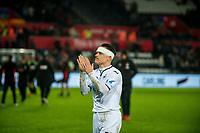 Roque Mesa of Swansea City thanks home fans during the Premier League match between Swansea City and Bournemouth at The Liberty Stadium, Swansea, Wales, UK. Saturday 25 November 2017