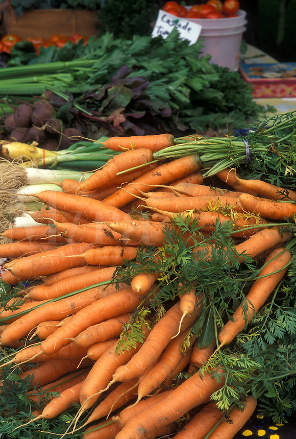 carrots, vegetables, outdoor market, produce, Vermont, VT, Carrots for sale at the Farmers Market in Waterbury.