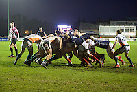 Mark Bright of London Scottish Football Club carries the ball in the scrum during the Greene King IPA Championship match between London Scottish Football Club and Ealing Trailfinders at Richmond Athletic Ground, Richmond, United Kingdom on 26 December 2015. Photo by Alan  Stanford / PRiME Media Images