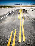 Multiple striping on the pavement, Tonopah., Nev.<br /> <br /> (Road to Area 51)
