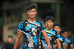 UBB Gavekal (in dark blue) plays against CRFA Gladiators (in blue and black) during GFI HKFC Rugby Tens 2016 on 06 April 2016 at Hong Kong Football Club in Hong Kong, China. Photo by Juan Manuel Serrano / Power Sport Images