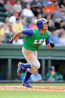 Third baseman Michael Antonio (22) of the Lexington Legends in a game against the Greenville Drive on Sunday, April 27, 2014, at Fluor Field at the West End in Greenville, South Carolina. Greenville won, 21-6. (Tom Priddy/Four Seam Images)