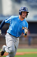 Tampa Bay Rays Dawson Dimon (63) runs to first base during a Florida Instructional League game against the Baltimore Orioles on October 1, 2018 at the Charlotte Sports Park in Port Charlotte, Florida.  (Mike Janes/Four Seam Images)